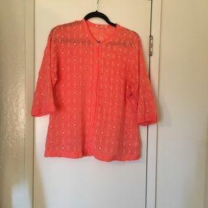 Johnny Was Orange/Coral Button Down Shirt